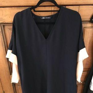 Zara Navy Dress with blush side bows on sleeve